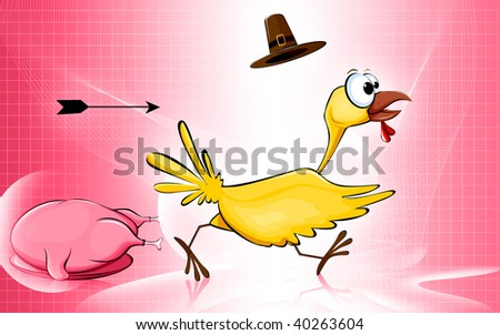 Illustration of a cartoon turkey fowl
