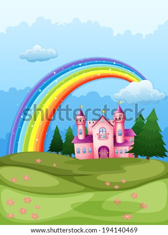 Illustration of a castle at the hilltop with a rainbow in the sky - stock photo