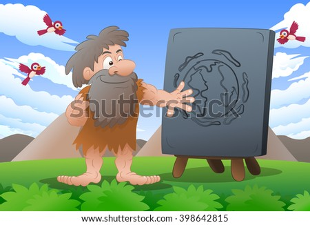 illustration of a cave man wearing leather cloth in front stone sign on nature background - stock photo