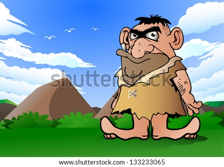illustration of a cave man wearing leather cloth on nature background - stock photo