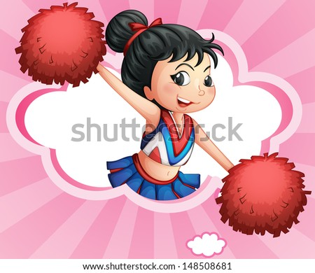 Illustration of a  cheerleader inside a cloud - stock photo