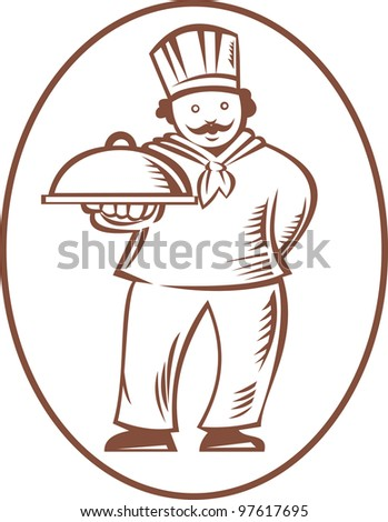 Illustration of a chef cook baker holding a platter dish done in retro woodcut style on isolated white background. - stock photo