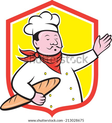 Illustration of a chef cook baker holding baguette bread set inside shield crest on isolated background done in cartoon style - stock photo