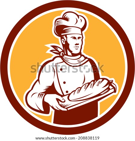 Illustration of a chef, cook or baker holding bread set inside circle on isolated background done in retro woodcut style.  - stock photo