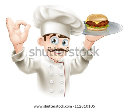 Illustration of a chef holding a gourmet burger on a tray - stock photo