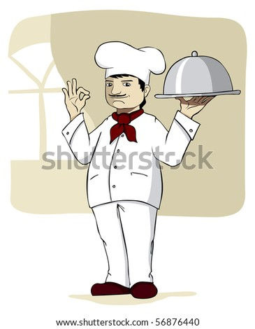 Illustration of a chef standing with a covered dinner plate.