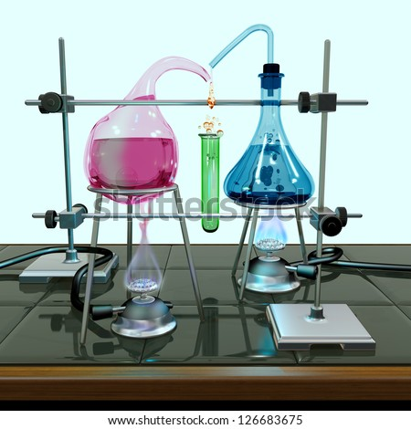 Illustration of a chemistry experiment with impossible equipment - stock photo
