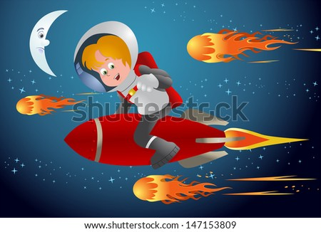 illustration of a child racing with meteors riding red rocket on space background - stock photo