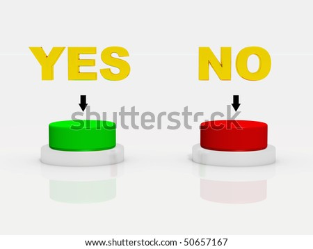Illustration of a choice between yes or no.