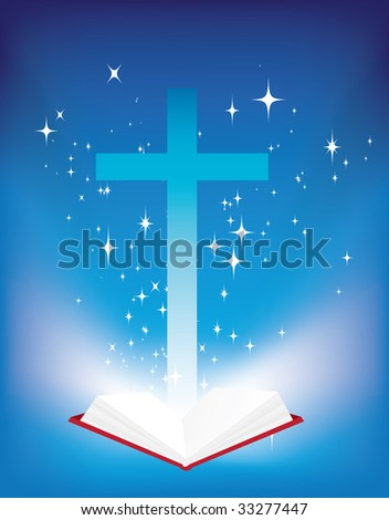 illustration of a christian cross and light coming from the bible - stock photo