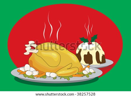 Illustration of a Christmas dinner with roast turkey and Christmas pudding - stock photo