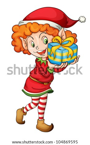 Illustration of a christmas elf - - stock photo