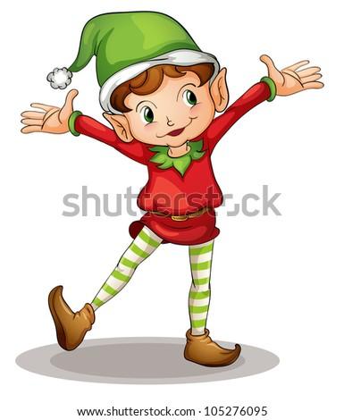 Illustration of a christmas elf - stock photo