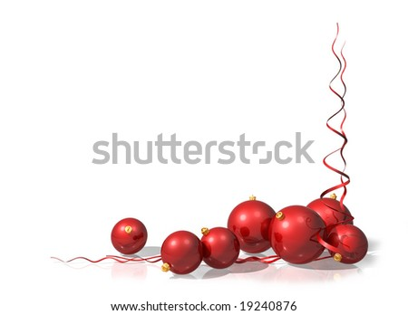 Illustration of a Christmas motif using red baubles and streamers - stock photo