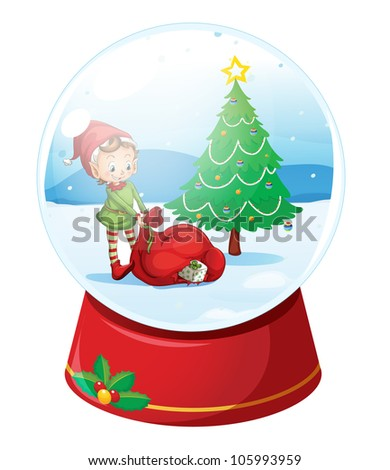 Illustration of a christmas snow globe - stock photo