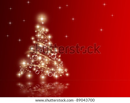 illustration of a Christmas tree made with star on a red background