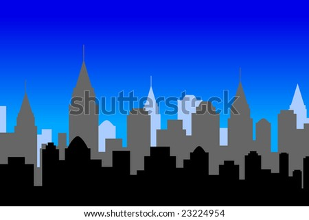 Illustration of a city skyline, at night