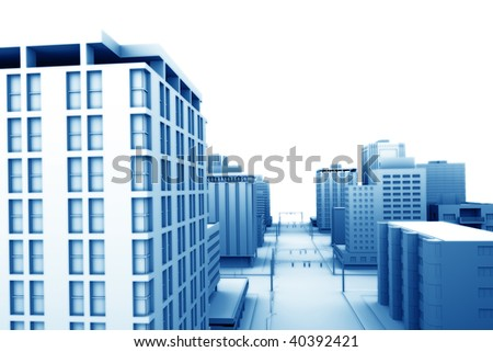 Illustration of a city, with blank area for your own text or design. - stock photo