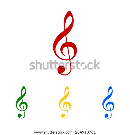 Illustration of a clef. Musical. Colorful icons set. Isolated on the white bacground - stock photo
