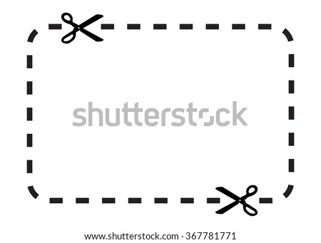 Illustration of a clipping coupon with  scissors. Isolated on white background. Clipping path is included. - stock photo