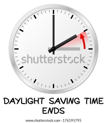illustration of a clock return to standard time daylight saving time ends