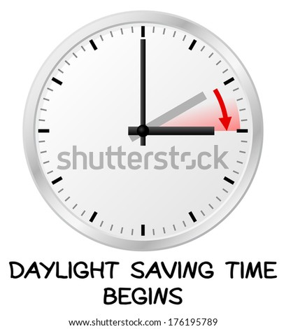 illustration of a clock switch to summer time  daylight saving time begins - stock photo