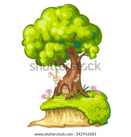 Illustration of a closeup tree with house for gnome - stock photo
