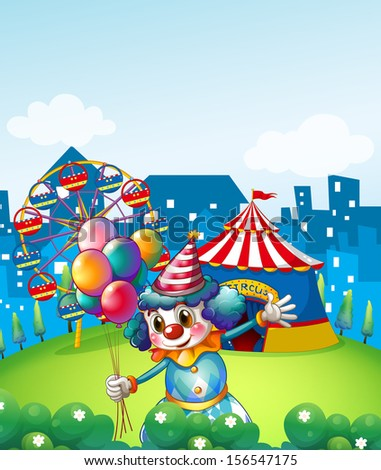 Illustration of a clown at the carnival with balloons - stock photo