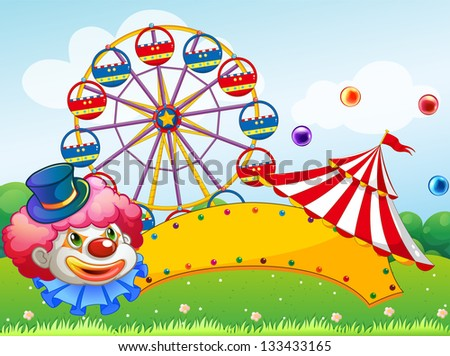 Illustration of a clown in front of a ferris wheel
