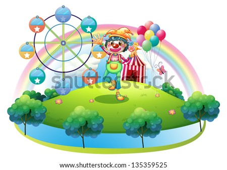 Illustration of a clown with a flower in an island with a carnival on a white background