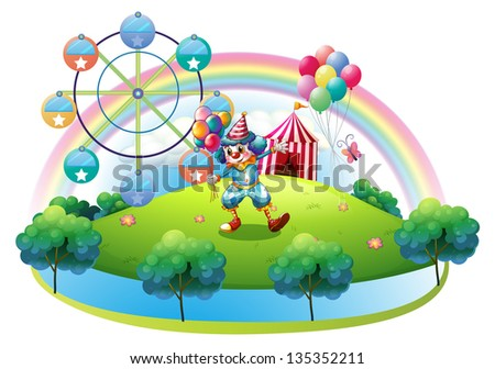 Illustration of a clown with balloons at the carnival in the island on a white background