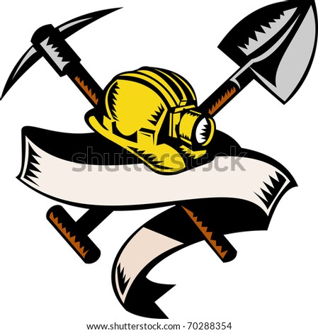 illustration of a coal miner hardhat hat ,shovel or spade and pickax with scroll isolated on white done in retro woodcut style