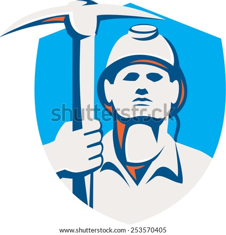 Illustration of a coal miner wearing hardhat holding pick axe striking facing front set inside shield crest done in retro style. - stock photo