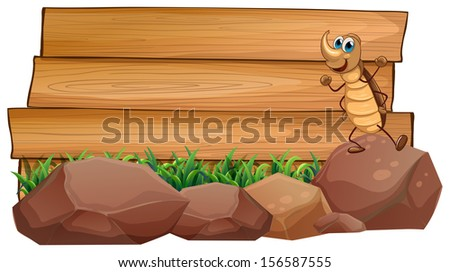 Illustration of a cockroach above a rock with an empty wooden signboard at the back on a white background