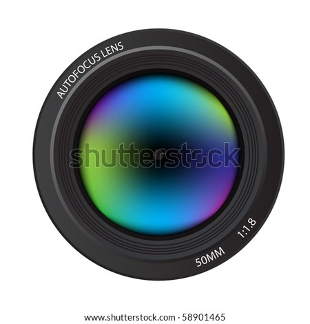 Illustration of a colorful dslr camera lens, front view - stock photo