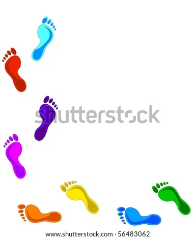 illustration of a colorful footprints.  design elements. - stock photo