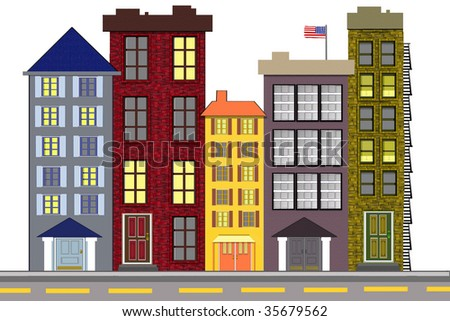 Illustration of a colorful old town city block highrise buildings.  Could be business or residential buildings. - stock photo