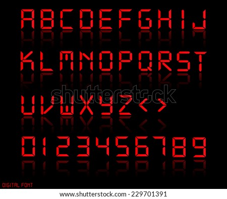 Illustration of a colorful red digital font. - stock photo