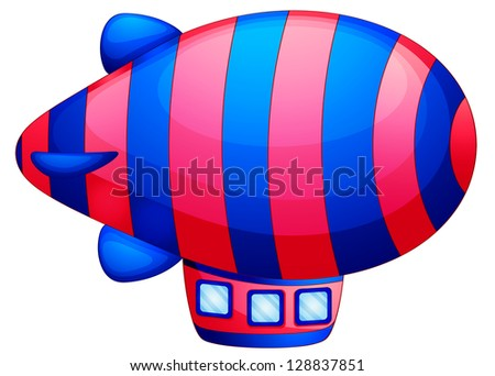 Illustration of a colorful spaceship on a white background - stock photo