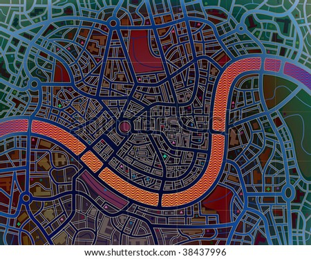 Illustration of a colorful street map without names - stock photo