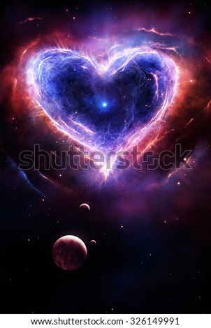 Illustration of a colorful supernova in heart shape with planets and stars - stock photo