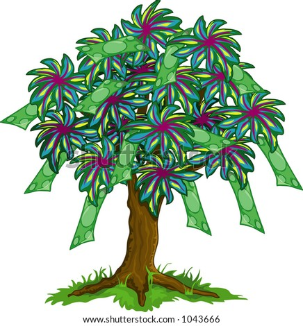 illustration of a colorfull money tree
