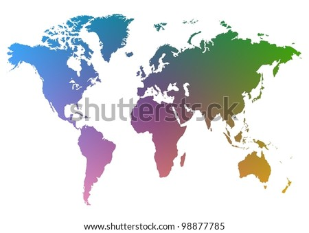 Illustration of a colourful map of the world