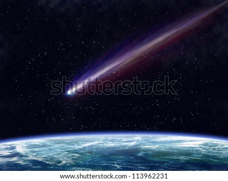 Illustration of a comet flying through space close to the earth - stock photo