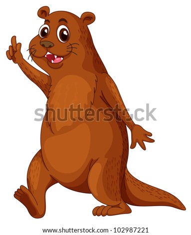 Illustration of a comical otter - EPS VECTOR format also available in my portfolio. - stock photo