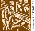 Illustration of a command center control room communications headquarter with two operators working in front of world map done in retro woodcut style. - stock photo
