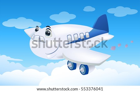 illustration of a commercial plane flying away to destination on sky background