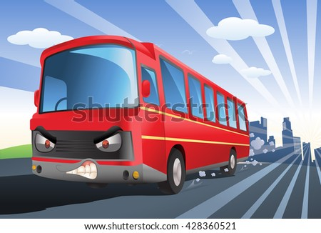 illustration of a commercial red bus exceed speed limits on city background - stock photo