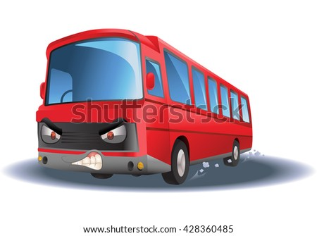 illustration of a commercial red bus on isolated white background - stock photo