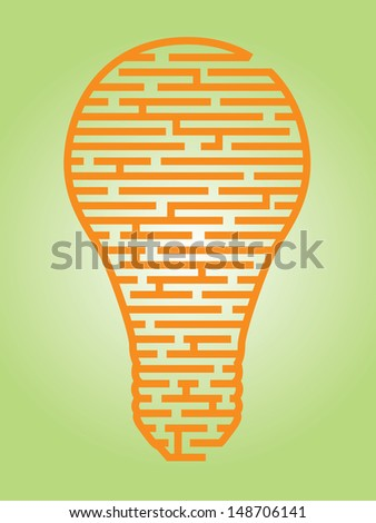 Illustration of a complex maze of ideas in a light bulb shaped outline - stock photo